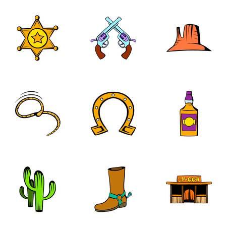 western town: Sheriff icons set, cartoon style