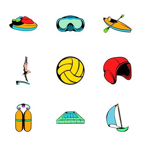 Aqualung icons set, cartoon style