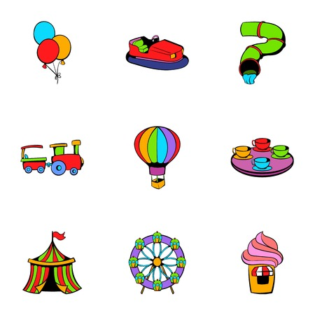 Attraction icons set, cartoon style