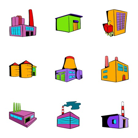 oil and gas industry: Factory icons set, cartoon style