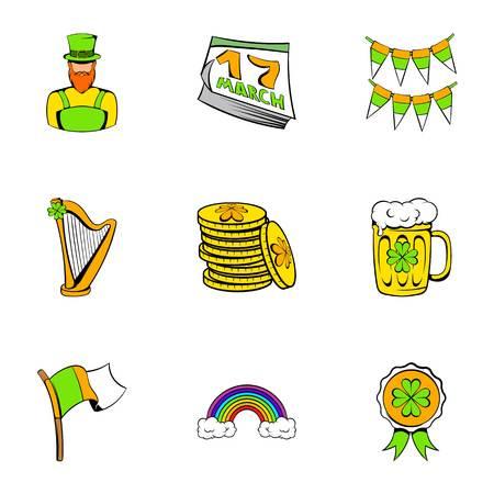 27: Ireland day icons set, cartoon style