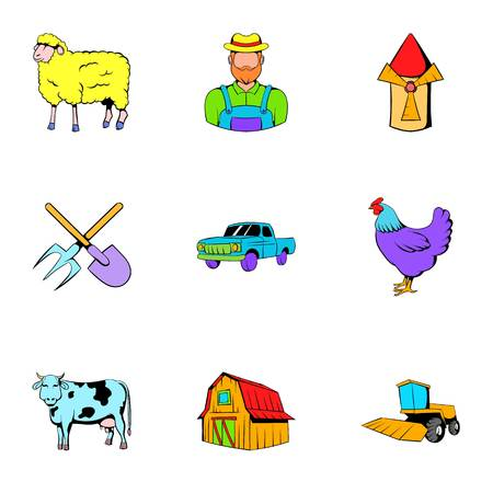 Ranch icons set, cartoon style