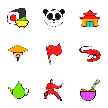 Japanese culture icons set, cartoon style Illustration