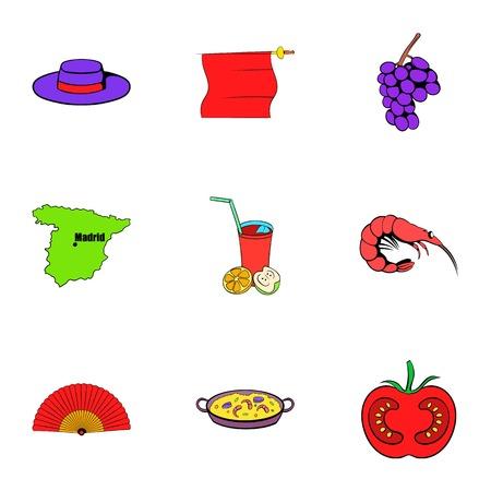 madrid: Spain icons set, cartoon style