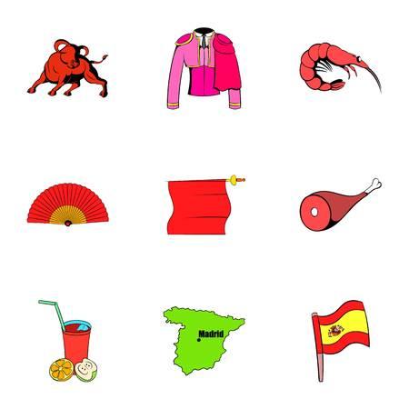 Spanish icons set, cartoon style