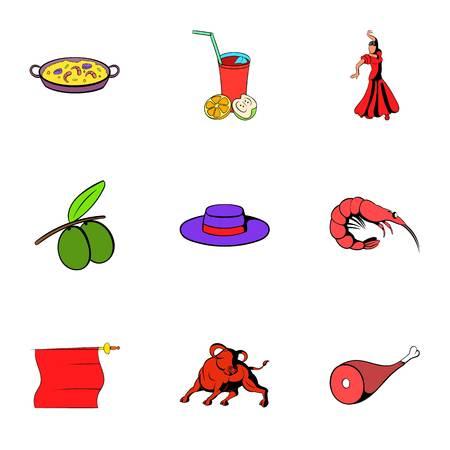 Spain travel icons set, cartoon style Illustration
