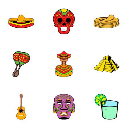 Mexican culture icons set, cartoon style Illustration