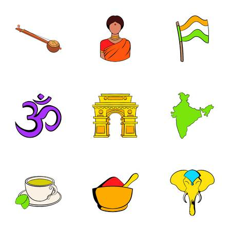 Indians icons set, cartoon style Vectores