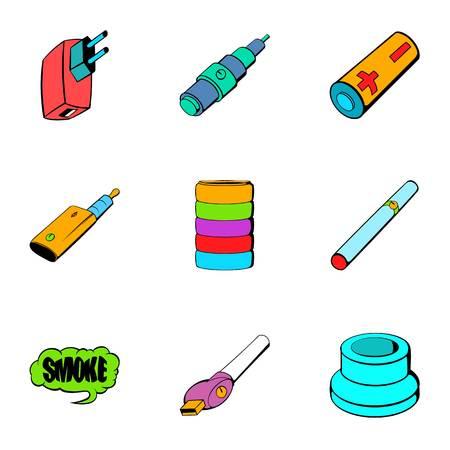 Battery icons set, cartoon style Illustration