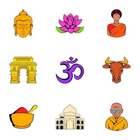 India iconos de viajes conjunto, estilo de dibujos animados