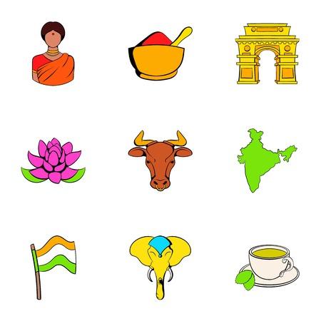 Iconos de loto indios conjunto, estilo de dibujos animados