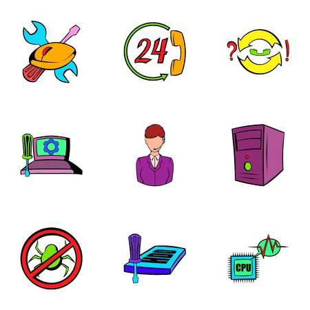 Webmaster icons set, cartoon style Illustration