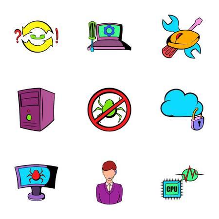Hacker icons set, cartoon style Illustration