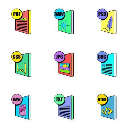 wav: Download file icons set, cartoon style