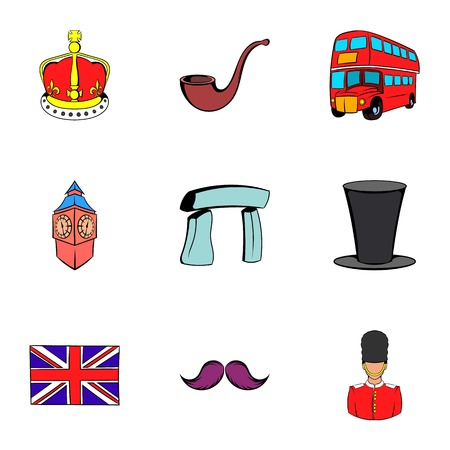 london tower bridge: United Kingdom icons set, cartoon style Illustration