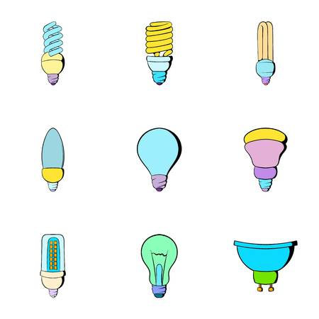 Illumination icons set, cartoon style