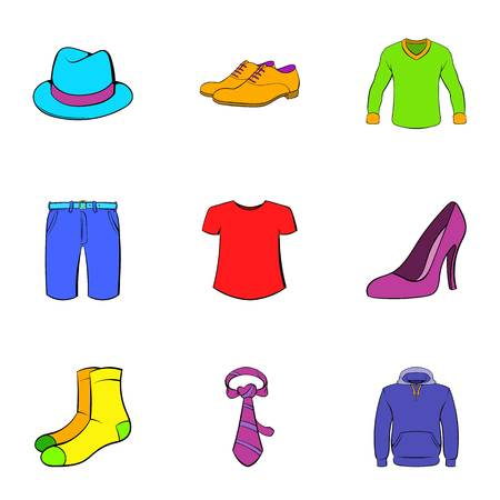 articles: Articles of clothing icons set, cartoon style