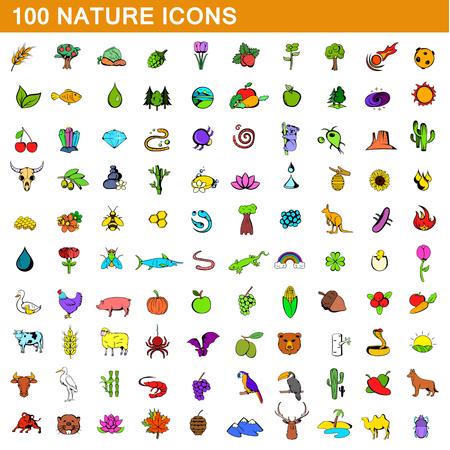lizard in field: 100 iconos de la naturaleza establecido, estilo de dibujos animados