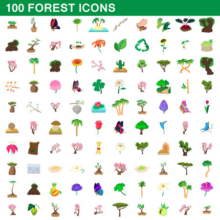 icons: 100 forest icons set, cartoon style