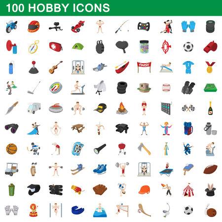 100 icônes de passe-temps défini, le style de bande dessinée Banque d'images - 74591831
