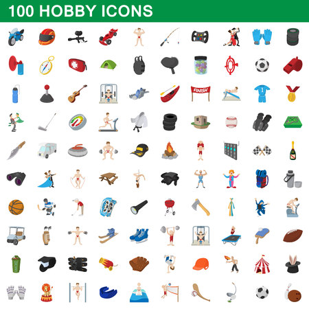 100 hobby icons set, cartoon style Illustration