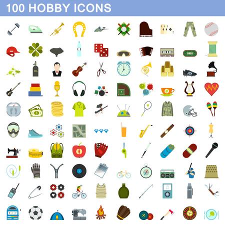 100 hobby icons set, flat style