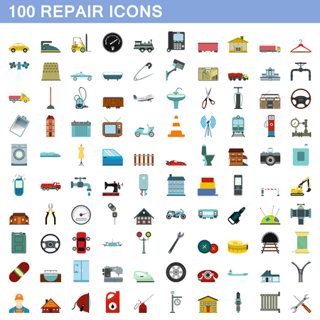 100 repair icons set, flat style