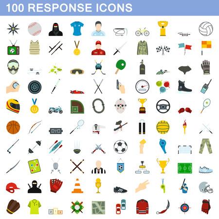 response: 100 response icons set, flat style