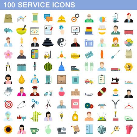100 service icons set, flat style