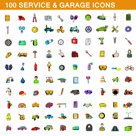 100 service and garage icons set, cartoon style