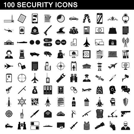 email bomb: 100 security icons set, simple style