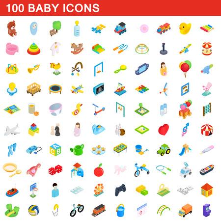 100 zestaw ikon dla niemowląt, izometryczny 3d stylu