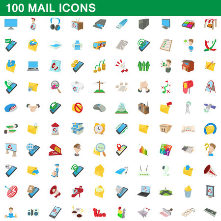 select all: 100 mail icons set, cartoon style Illustration