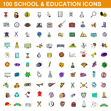 laboratory equipment: 100 school and education icons set, cartoon style