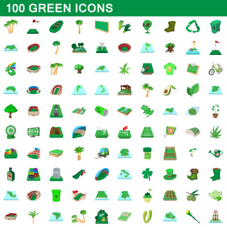 soccer field: 100 green icons set, cartoon style