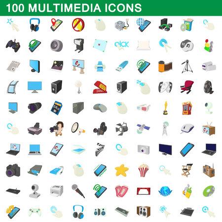 old phone: 100 multimedia icons set, cartoon style Illustration