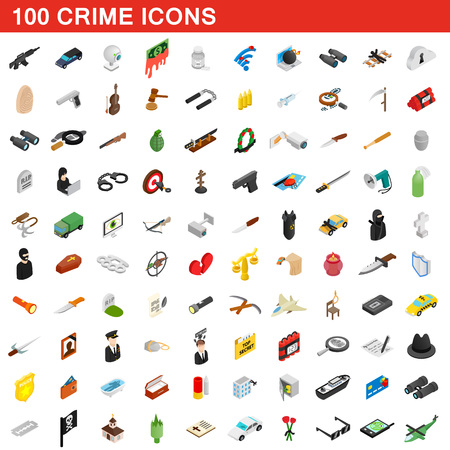 shadowing: 100 crime icons set, isometric 3d style