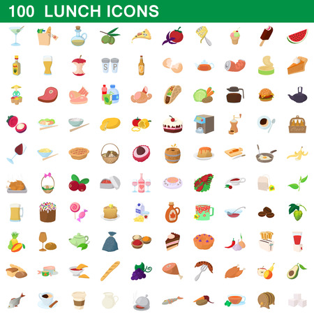 100 lunch icons set, cartoon style.