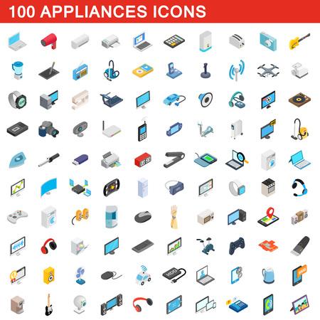 clock radio: 100 appliances icons set, isometric 3d style