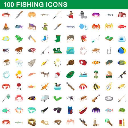 100 fishing icons set, cartoon style