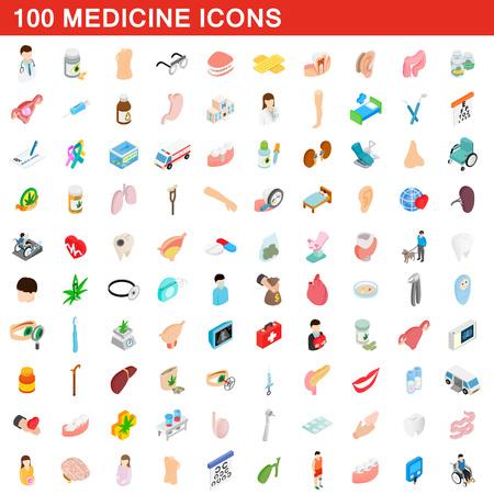 100 medicine icons set, isometric 3d style