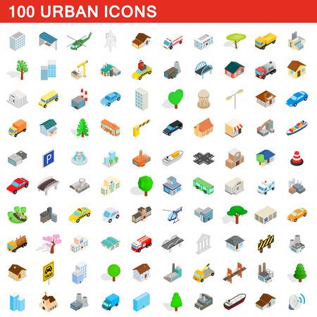 100 icônes urbaines définies, style 3d isométrique