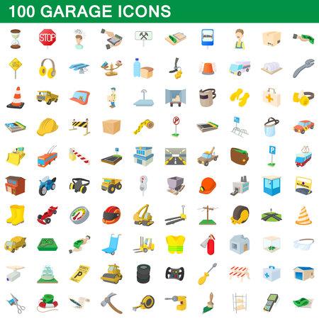 100 ガレージ アイコン設定、漫画のスタイル  イラスト・ベクター素材