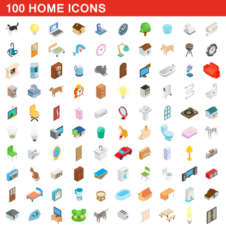 gas fireplace: 100 home icons set, isometric 3d style