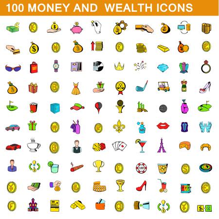 100 お金と富のアイコン セット、漫画のスタイル