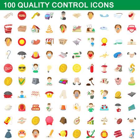 pest control: 100 quality control icons set, cartoon style