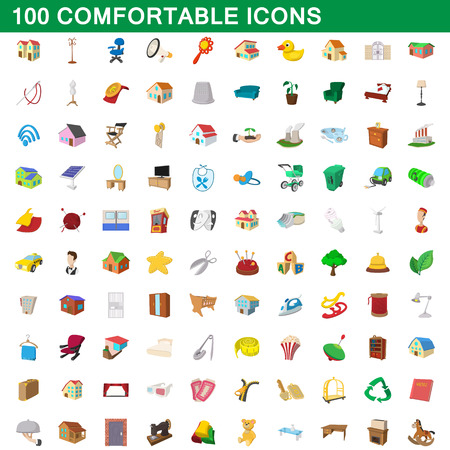 100 comfortable icons set, cartoon style
