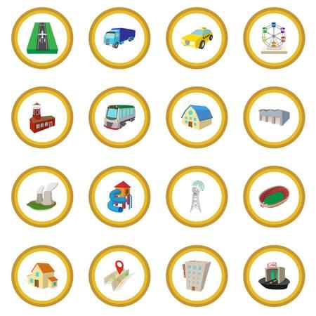 real estate house: City icon circle Illustration