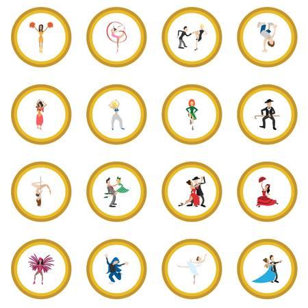 Dances cartoon icon circle Illustration