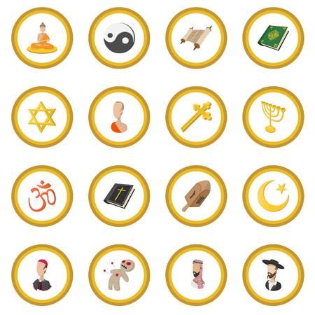 Different religions cartoon icon circle